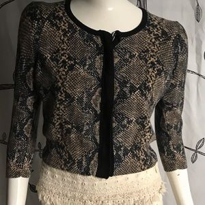 Tracy Reese snake print zip up sweater